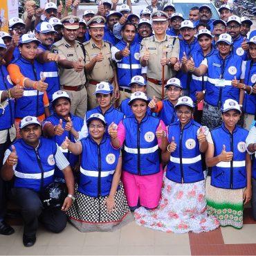 Sri D. Gautam Sawang, IPS, Commissioner of Police, Vijayawada City with Traffic Wardens in Vijayawada on 03.09.2017