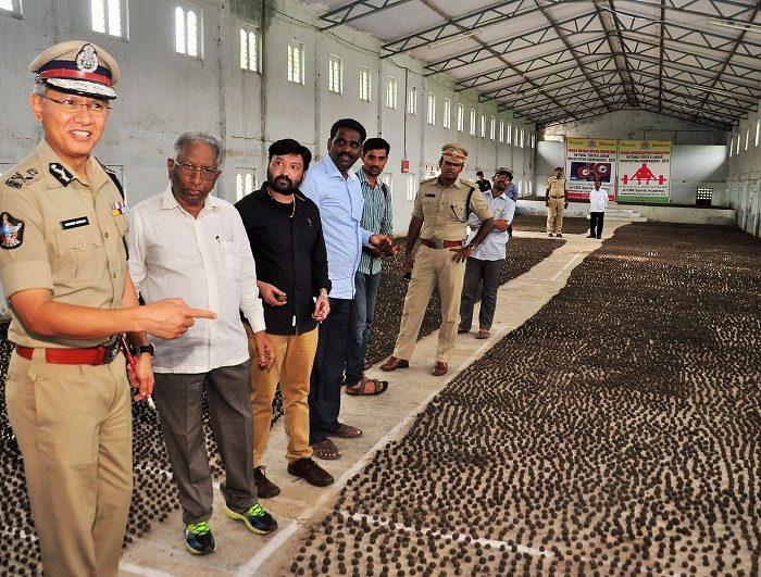 Sri D. Gautam Sawang, IPS, Commissioner of Police, Vijayawada City showing Seed Balls Making as part of Vanam-Manam Programme on 05.08.2017