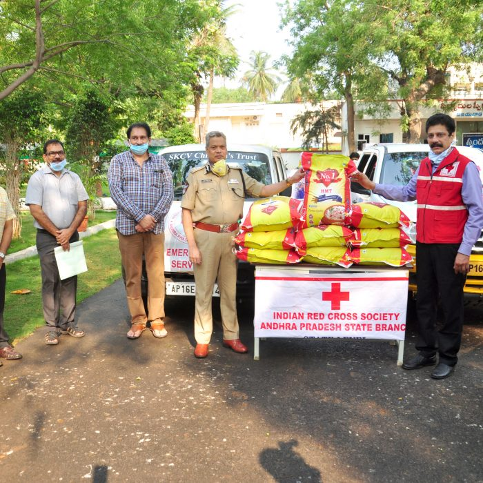 RICE BAGS TO RED CROSS SOCIETY AND S.K.C.V. CHILDREN TRUST THROUGH CP OFFICE 3