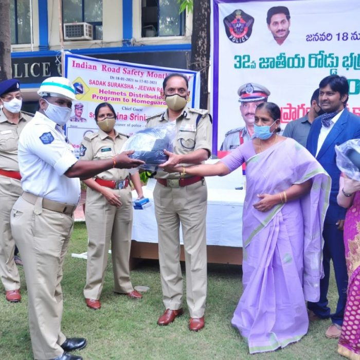 Distribution of helmets and saris to homeguards 19.01.2021
